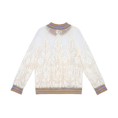 pearl button lace jumper white